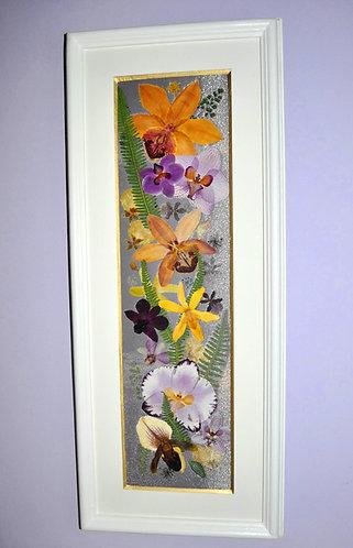 oshibana de Sueli Finoto, quadro em oshibana com orquídeas, arte em oshibana, Sueli Finoto art, artes, quadro com flores,