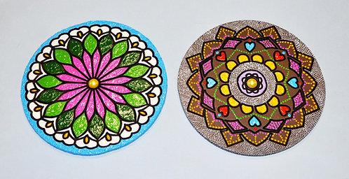 mandala, mandalas, mandalas pequenas, mandalas coloridas, pontilhismo em mandala, mandala em compensado, decoração, loja