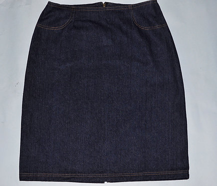 saia de jeans curta azul escuro, brechotreschic, brechó, roupas femininas