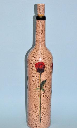 garrafa decorada a mão, flor em garrafa, vidro decorado, garrafa decorada, presentes artesanais, Sueli Finoto garrafas, loja