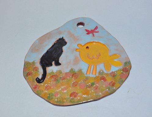 quadro infantil, quadro para quarto de criança, quadro em cerâmica, quadro, quadrinho, cena de jardim, Sueli Finoto, presente