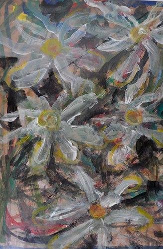 Campo de Margaridas pintura expressiva de Sueli Finoto