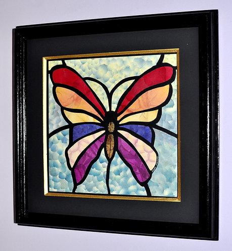 quadro em oshibana, oshibana arte, Sueli Finoto, borboleta