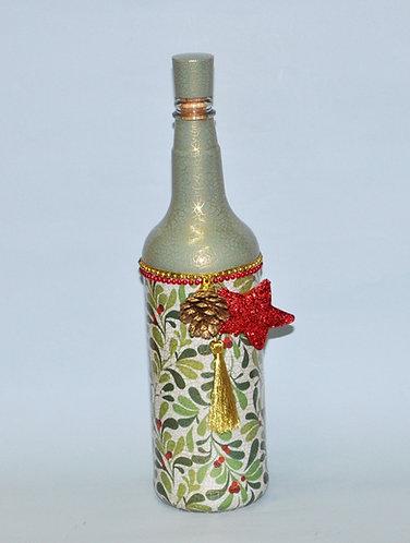 garrafa de Natal, Natal, garrafa decorada, garrafas, garrafas para presente, garrafas de Natal, enfeites de Natal, artesanato