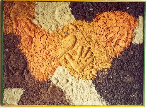 Terra colagem em painel, obra de Sueli Finoto, trabalhos artísticos