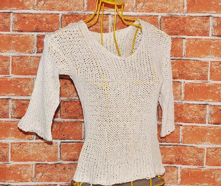 brechotreschic, brechó très chic, blusa de tricô, blusinhas, roupas, blusa P de trico, fio de algodão, tricô, roupas boas,