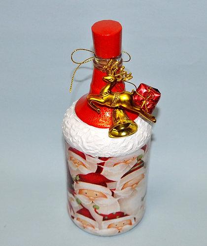 garrafa decorada para natal, Natal, decoração de Natal, enfeites para Natal, garrafa pintada, Sueli Finoto, artesanatos, art