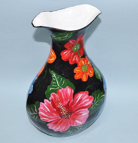 vaso de papel feito com a técnica da papietagem por Sueli Finoto, atelie de art craft e ceramica, cursos de papietagem, arte
