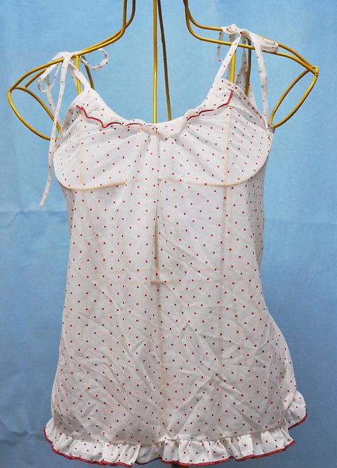 baby doll  branco de bolinhas vermelhas P, micro baby doll P, brechotreschic, brechó très chic, roupas de dormir, camisolinha