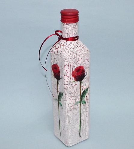 garrafa decorada com flor, garrafas, garrafa de vidro, Sueli Finoto decora garrafas, loja online, vendas, presentes, flor,