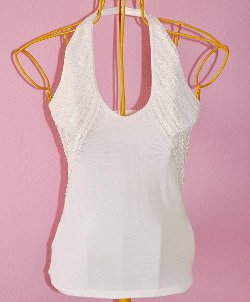 Blusa frente única branca bordada marca Zara tamanho P