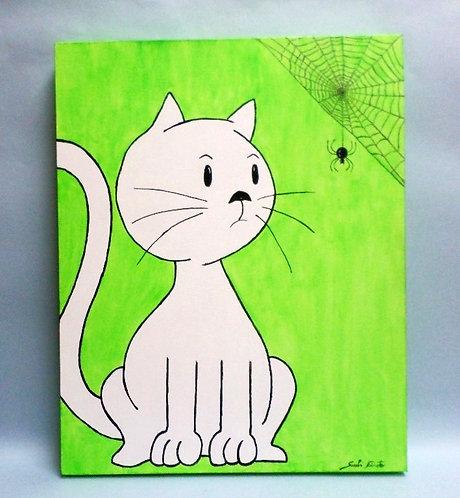 Painel para decorar quarto de criança, pintura acrílica, gatos