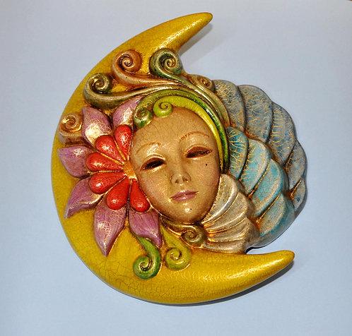 Arlequina, peça em cerâmica com pintura artesanal, Sueli Finoto, loja online de artesanatos, presentes, colombina, artesanato