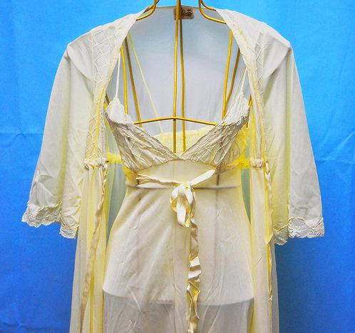 Conjunto de camisola e robe, camisola longa com robe, camisola amarela longa, brechotreschic, brechó très chic, vendas online