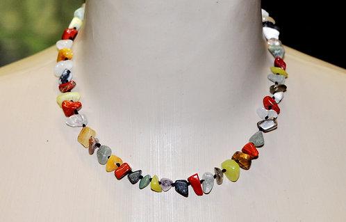 colar curto com pedra natural, colares, colar, pedras coloridas, cascalhos de pedras