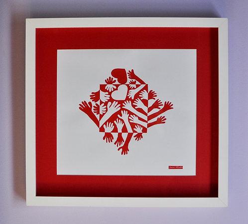 Quadro de amor, arte notan, Sueli Finoto, arte em papel