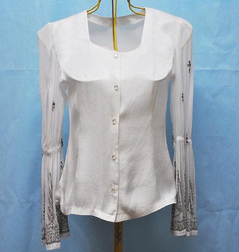 blusa para festa off white tamanho P, manga sino em chiffon, blusas, brechotreschic, brechó très chic, blusa de festa