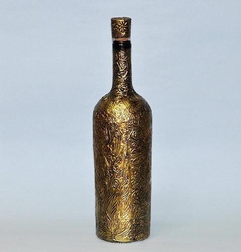 garrafa metalizada, garrafa trabalhada a mão, garrafa para presente, garrafa medieval, Sueli Finoto artesanatos, loja virtual