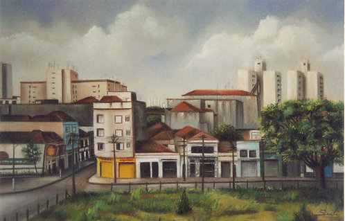 Rua Toledo Barbosa com Álvaro Ramos quadro em giz pastel seco de Sueli Finoto