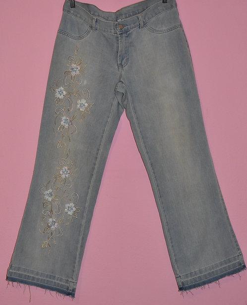 Brechotreschic calça jeans bordada nº 42 em ótimo estado