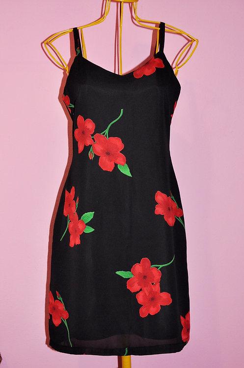 Vestido preto floral tamanho M Brechó Très Chic
