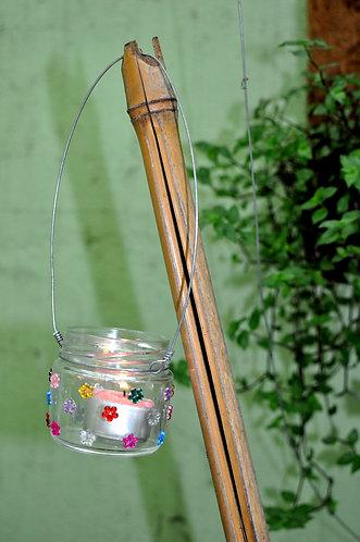 Mini luminária para decorar jardim, quintal, festas, vidro decorado com chatons
