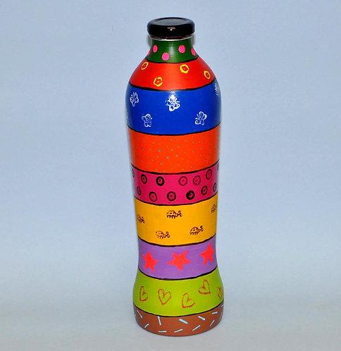 Garrafa decorada, garrafa pintada, garrafa reciclada, garrafa para presentes, bottiglia decorata, bottle decorated, bouteille
