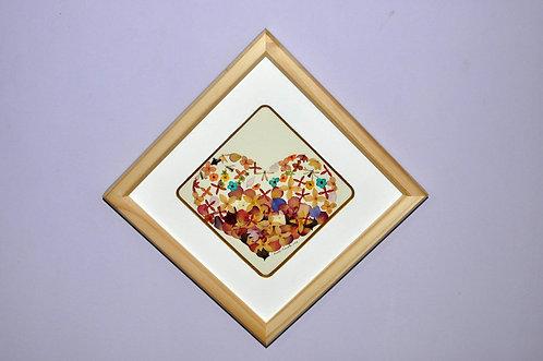 Oshibana de Sueli Finoto, coração florido, quadro em oshibana de Sueli Finoto