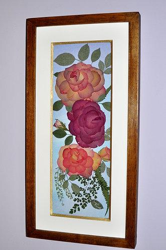 Rosas feitas em oshibana por Sueli Finoto, quadro, art, arte em oshibana