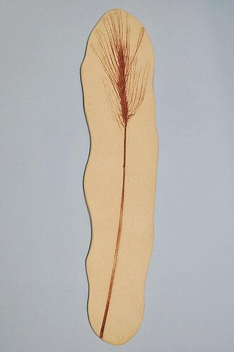 Cerâmica feita a mão com imagem de trigo em baixo relevo