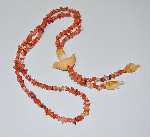 Bijuterias diferentes feita a mão, colar longo com pedra ágata, citrino e cerâmica