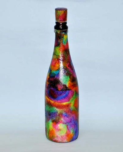 garrafa decorada a mão olhos de pavão, Sueli Finoto, loja de presentes, garrafa decorada, bouteilles decoree, bottle, garrafa