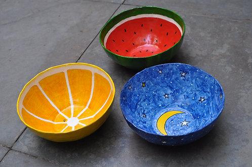 bowls, tigelas, bowls de papel, tigelas de papel, papietagem, cursos de artesanatos, Sueli Finoto artes e craft, loja online,
