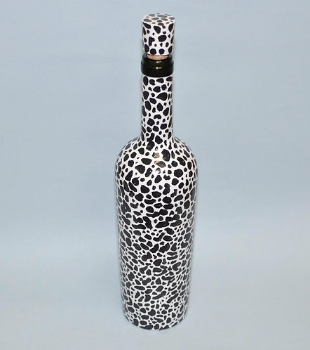 Garrafa com pintura feita a mão, bouteille, bottle decorated,