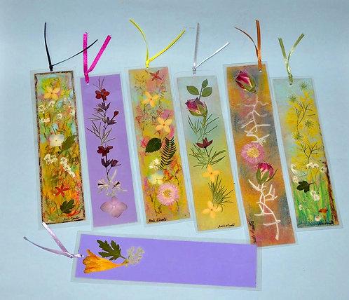marca páginas em oshibana, marcadores de páginas plastificados, oshibana, Sueli Finoto,