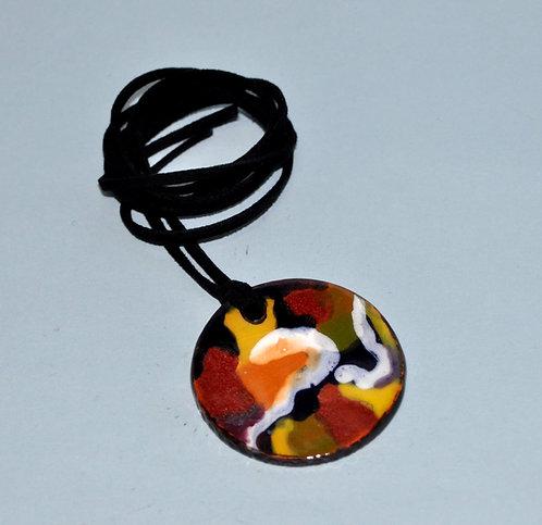 bijuteria em cerâmica, pingente redondo, pingente colorido, artesanatos, Sueli Finoto artesanatos, Fase NOva art craft