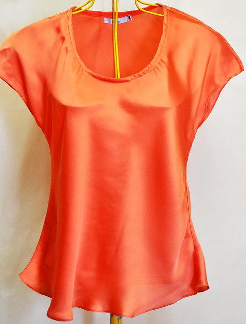 blusa Daslu M cor laranja, blusa acetinada laranja, blusas, brechó très chic, brechotreschic, brechó online, roupas online,