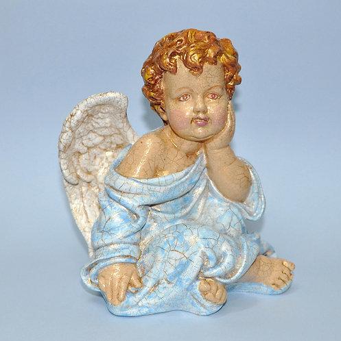 Anjo azul em gesso pintado a mão por Sueli Finoto, vendas online de artesanatos, anjos para presente, anjos, decoração, loja