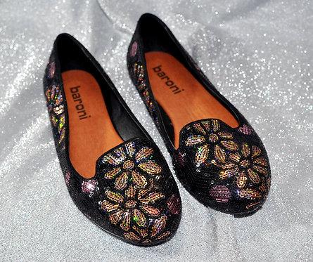 sapatilha preta com brilho furta cor nº 36 marca Baroni, sapatinho baixo, calçados em oferta, brechotreschic, brechó très ch