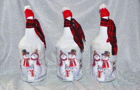garrafa decorada para o natal boneco de neve de Sueli Finoto, garrafas, natal, decoração, enfeites de Natal, Sueli Finoto,