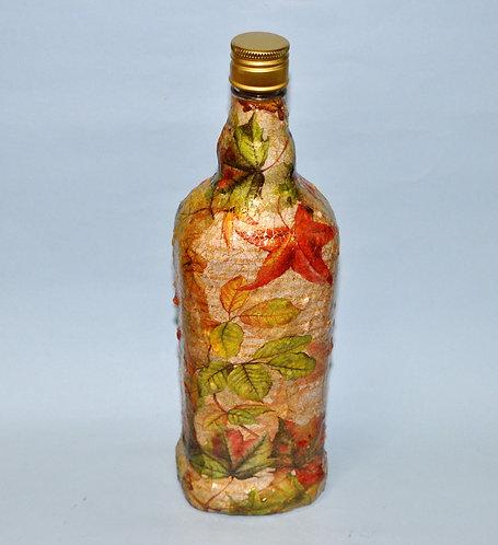 garrafa decorada, garrafa, garrafas, garrafa outono, garrafa rústica, artesanatos, vidro decorado, Sueli Finoto, craft,