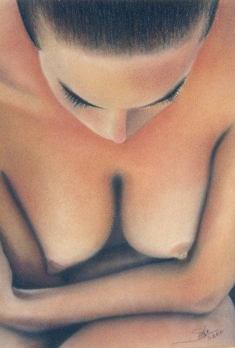 Figura de mulher em giz pastel seco por Sueli Finoto