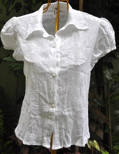 Blusa branca tamanho m bordada 100% algodão