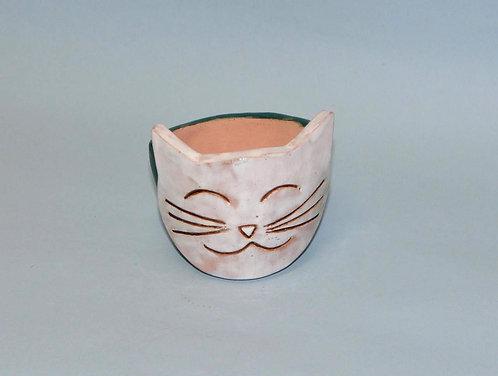 vasinho de gato, vaso cara de gato, vasinhos, vasos, vasinho cara de gato, gato branco, gatos, gato em vaso, Sueli Finoto,