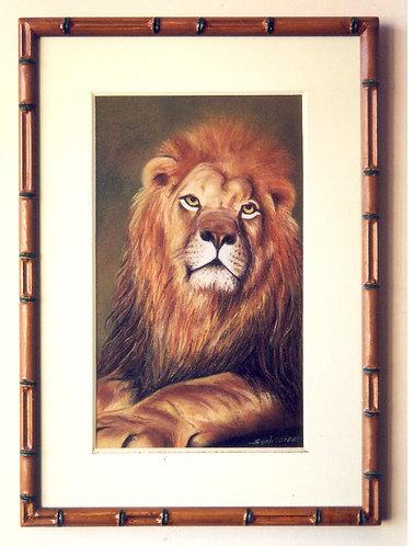 Rei Leão quadro em giz pastel seco de Sueli Finoto