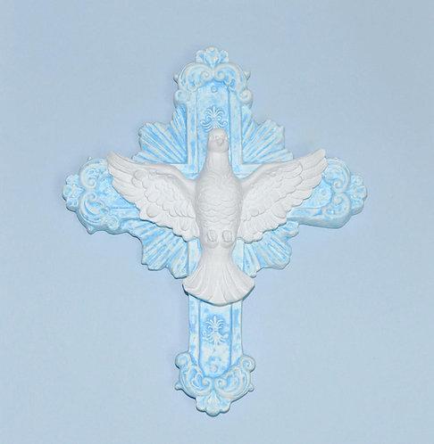 Divino em gesso, Divino na cruz, Divino Espírito Santo, gesso pintado, pintura em gesso, peças em gesso para presente, cursos
