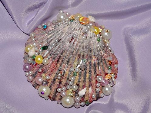 Conchas do mar decoradas a mão por Sueli Finoto