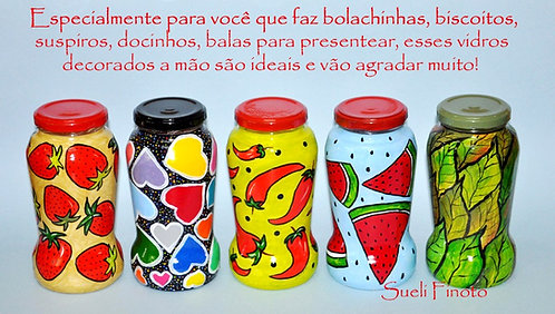 potes de vidros decorados a mão, vidros pintados para doces, vidros para presentear com docinhos, vidros decorados