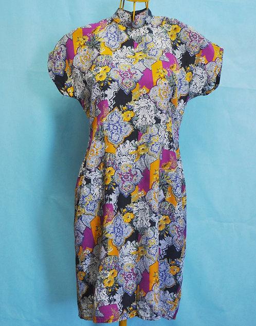 vestido estilo japonês, vestido modelo japonês, vestido floral, vestido estampado, vestido florido, brechó très chic, roupas,