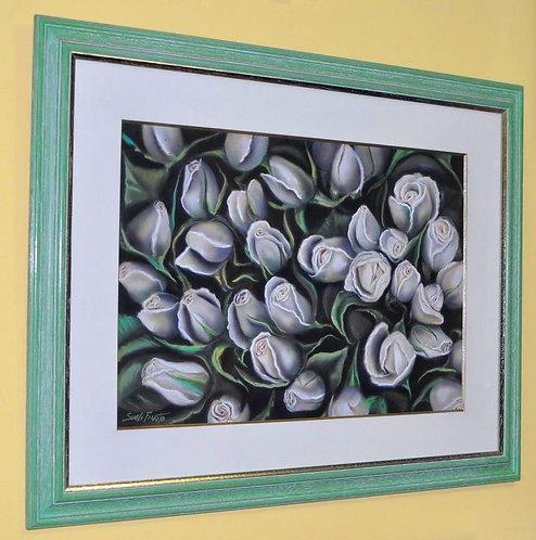 Botões de rosas brancos, trabalho em giz patel seco de Sueli Finoto